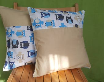 2 set cushion covers, children, with owls
