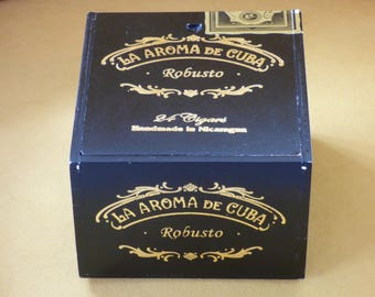 Ashton Cigar Box - La Aroma de Cuba - Clean Wooden Box - Black with Gold Lettering - Clean - Unscented -  Upcycle for Shell or Bead Storage
