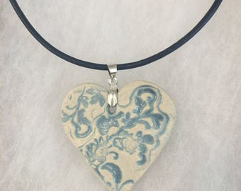 Ceramic Heart Pendant Necklace with Vintage imprint on a Sterling Silver and Leather cord, boho, one of a kind, handmade