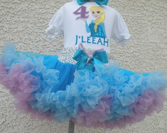 Elsa Frozen Number Blue and Lavender  Pettiskirt -Personalized Birthday Pettiskirt,Sizes 6m - 14/16