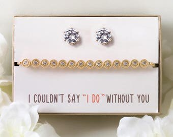 Bridesmaid Earring and Bracelet Set, Gold Personalized Bridesmaid Gift Set, Personalized Wedding Jewelry Set, Wedding Bracelet Earring B166G