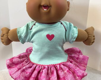 "Cabbage Patch 14 inch BABY or Smaller 14 inch Doll Clothes, Pretty ""PINK HEART"" Ruffle & Trim Dress, 14 inch Doll Clothes"