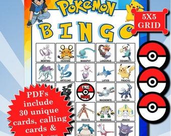 POKÉMON 5x5 Bingo printable PDFs contain everything you need to play Bingo.
