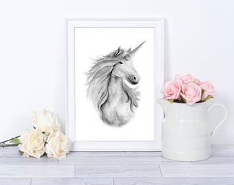 unicorn decor, unicorn gift, unicorn print, girls room decor, girls nursery decor, unicorn nursery, unicorn wall art, unicorn art, unicorn