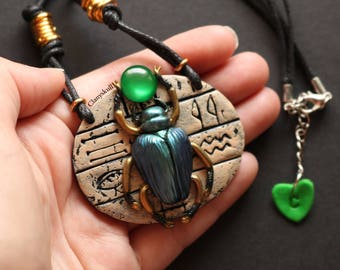 Egyptian beetle necklace.