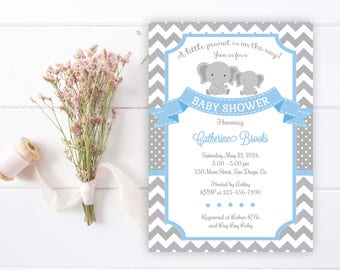 Elephant Baby Shower Invitation. Elephant Baby Boy Invitation. Little Peanut Baby Shower Invitation, Little Peanut Shower. Blue and Grey.