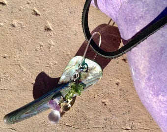 Abalone Gemstone Art Pendant with Sterling Silver and Leather Necklace