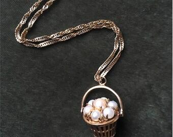 Vintage Basket of Pearls pendant necklace
