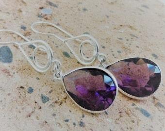 Amethyst Earrings, Birthstones, Amethyst Dangle Earrings, Amethyst Jewelry, Birthstone Jewelry, Sterling Silver Earrings, Hypoallergenic