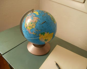 Free U.S. Shipping:  Rand McNally World Master, Late 1940's Collectible Globe, Valentines Gift, 8 Inches, Tin Anniversary Gift