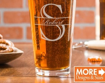 Custom Beer Glass, Personalized Beer Glass, Pint Glass 21 St, Monogram Gift, Etched Beer Glass, Beer Mug, Retirement Gift, Beer Lover Gift