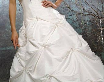 Lovely Modest Bridal Gown - Beaded White Bridal Dress Like NEW - Wedding Dress Modest with Sleeves - Allure Bridal - Aline Wedding dress