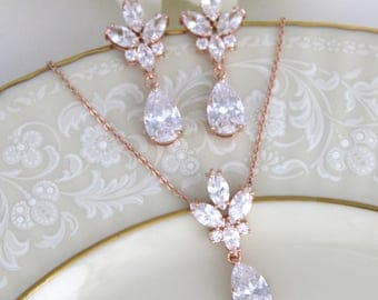 Bridal jewelry wedding headpieces and by theexquisitebride on etsy rose gold necklace bridal jewelry rose gold earrings bridesmaid jewelry cz earrings junglespirit Gallery
