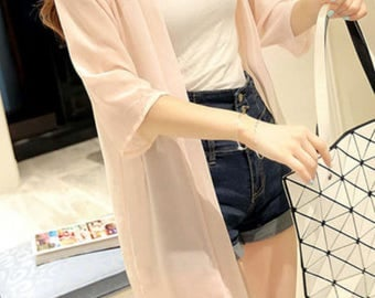 Cardigan, Available in 3 colors, Cover Up Kimono,light pink jacket, Summer Front Open Kimono