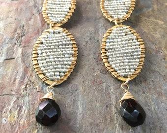 Labradorite and garnet gemstone gold statement earrings