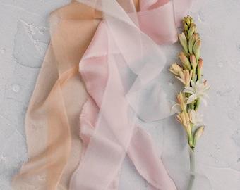 Handmade silk ribbon for wedding bouquet. TWRA TUBEROSA