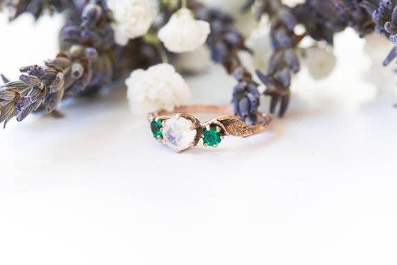 Moonstone and emerald leaf 14k gold engagement ring, rose gold emerald engagement ring, nature twig engagement ring