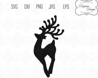 reindeer clipart, Rudolph SVG, christmas svg, winter svg, silhouette, vector, merry christmas clipart, cricut cut files, santa sleigh svg