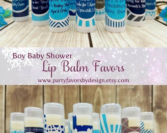 Custom Boy Baby Shower Themes | Boy Baby Shower Ideas | Boy Baby Shower Favors | 10 White Lip Balm Favors