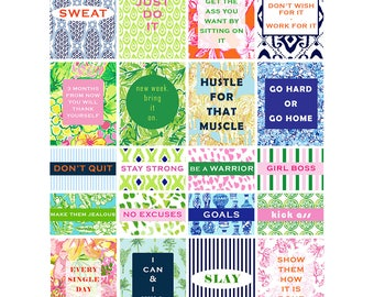 Preppy pattern fitness and motivational planner stickers - instant download printable workout stickers, fits EC Planner, quotes