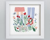 square 8x8 In our socks art print | Illustrated Wall art | botanical painting | home decor | cute animal print | floral design