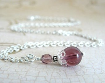 Plum Pendant, Amethyst Glass Bead Pendant, Purple Bridesmaid Necklace, Bridesmaid Jewelry, Vintage Style Wedding Necklace, Bridal Party Gift