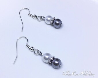 Elegant Dark Grey / Silver and White Pearl Drop Earrings | Bridesmaids Gifts | Bridal Jewellery | Elegant | Stylish