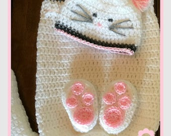 NB Kitty Hat and Cocoon Photo Prop with Attached Booties or  NB Hat and Booties Only - First Photos - Announcement Cards