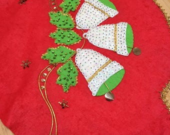 Vintage Red Felt handmade tree skirt - tons of Sequin details - Bells, Holly leaves and gold trim