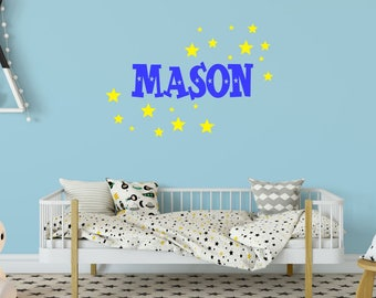 Outer Space Name Decal - Space Wall Decal - Boy Bedroom Decal - Boy Nursery Decal - Boy Name Decal - Kids Name Decal - Name with Stars