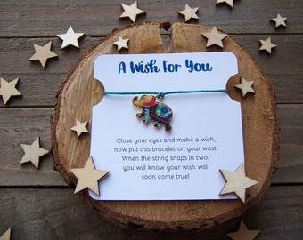 Colorful Elephant Wish Bracelet, Wish Bracelet, Elephant Friendship Bracelet, Elephant Jewelry, Elephant Gift, Elephant Charm Bracelet