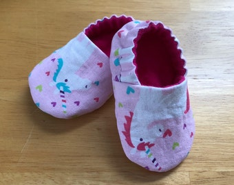 Unicorn Baby Booties, Pink Baby Shower Gift, Unicorn Soft Sole Shoes, Heart Baby Slippers