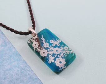 Fused Glass Pendant in Blue with White Floral Design