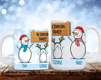 Snowman Family Christmas Mug, Personalized Snow People Cup, Mug Gift with Names, Funny and Humorous Mug, Coffee Lover Gift Idea, Tea Cup Mug