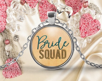 Bridal Party Gift, Bride Squad Pendant Necklace, Gift for Bridal Attendants, Keepsake Jewelry Gift, Maid of Honor Bridesmaid Present