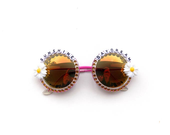 """Grateful Dead """"Sunshine Daydream"""" sunglasses, hand decorated funky festival shades for LOCKN, novelty gift for Dead and Company tour"""