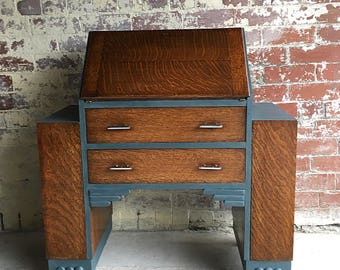 An Original Art Deco Oak Bureau