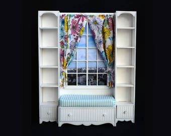 Doll window seat & shelving #2. Scale 1/6 YoSD, 1/4 MSD, 1/3 SD, 70+ (bjd, barbie, monster high, momoko, blythe, fashion doll furniture)