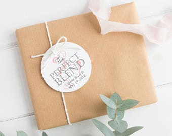 The perfect blend tags (30) - Wedding favor tags - Coffee favor tags - Wedding gift tags - Wedding tags