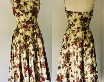 Vintage 40's Claudia Young Halter Dress Full Skirt l S