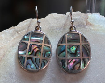 Windowpane Abalone And Sterling Silver Drop Earrings/Abalone And Sterling Silver Drop Earrings/Lustrous Abalone And Sterling Drop Earrings