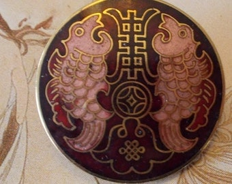 Magnificent Rare Victorian Brass Enamel button~pinks~Burgundy~Two fish~Pisces zodiac sign