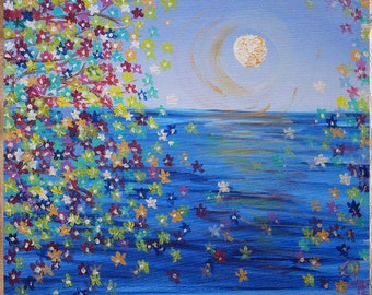 Ocean View • Original 20x24 Acrylic Painting, Moon Flowers, Blue Wall Art, Kids Room Art, Floral Art, Colorful Painting, Made in USA