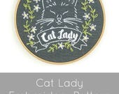 Hand Embroidery Pattern, Embroidery Pattern, Cat Lady, Cat Embroidery Pattern, Modern Embroidery Pattern, Embroidery PDF Pattern, Cat Lovers