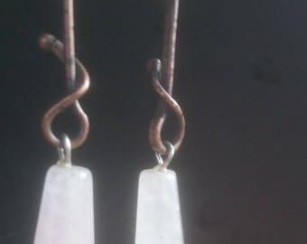 Vintage steam punk rose quartz dangle