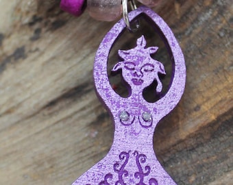 Goddess pendant,Tree of Life Necklace, Hippie Jewelry, Purple Goddess pendant, Purple Pagan Goddess pendant, Tree Goddess pendant,Handmade