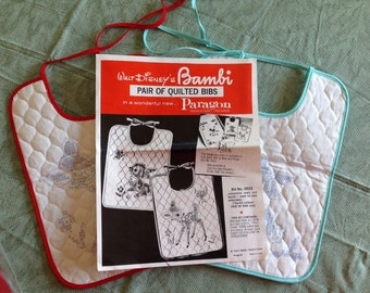 Walt Disney's Bambi Quilted Bib Kit, Vintage Paragon Baby Bib Embroidery Kit, Set of 2 Stamped Bibs Babmbi and Thumper
