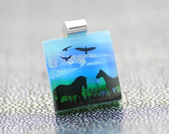 Fused Glass  Pendant - Dichroic Glass Pendant with Horses and Birds - Fused Glass Jewellery - Dichroic Jewelry -Fused Glass Jewelry.  JBT572