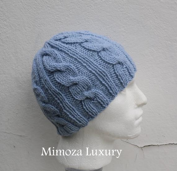 Light Blue Men's Beanie hat, Hand Knitted Hat in light blue beanie hat, knitted men's, women's beanie hat , winter hat, ski hat