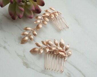 Rose Gold Bridal Accessories, Rosegold bridal Combs, Leaves Wedding Hair, Bridal Hair, Rosegold Wedding, Wedding Hair, Bridal Hair Accessory